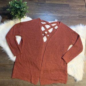 Dreamers crisscross open cardigan sweater